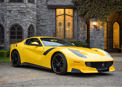 FRR 04 RK0740 01 © Kimball Stock 2017 Ferrari F12tdf Special Edition Yellow 3/4 Front View By Building