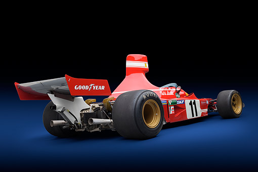 FRR 04 RK0749 01 © Kimball Stock 1974 Ferrari 312 B3/74 Red 3/4 Rear View In Studio