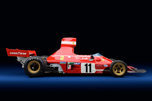 FRR 04 RK0750 01 © Kimball Stock 1974 Ferrari 312 B3/74 Red Profile View In Studio