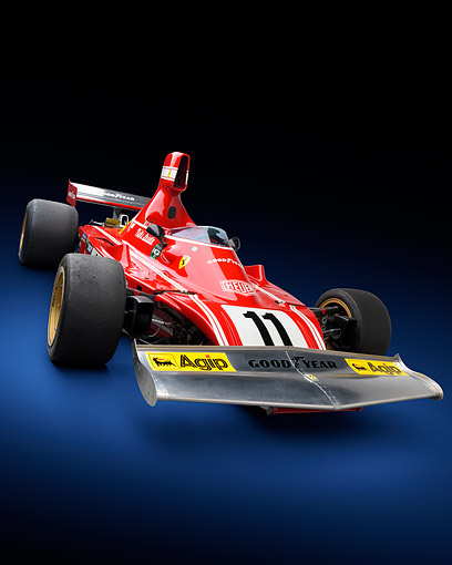 FRR 04 RK0751 01 © Kimball Stock 1974 Ferrari 312 B3/74 Red 3/4 Front View In Studio