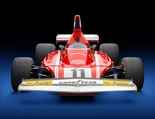 FRR 04 RK0752 01 © Kimball Stock 1974 Ferrari 312 B3/74 Red Front View In Studio