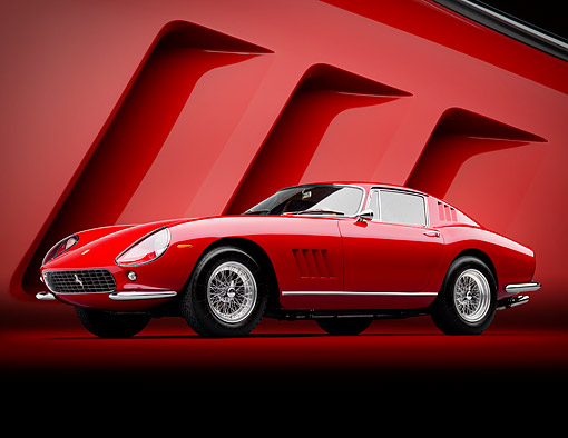 FRR 04 RK0753 01 © Kimball Stock 1965 Ferrari 275 GTB Red 3/4 Front View In Studio