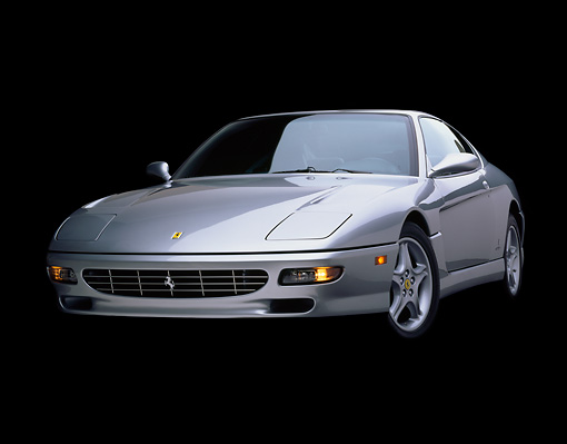 FRR 04 RK0003 04 © Kimball Stock 1994 Ferrari 456 GT Silver Low 3/4 Front View Studio