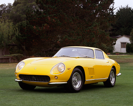 FRR 04 RK0036 05 © Kimball Stock 1965 Ferrari 275 GTB Yellow  3/4 Front View On Grass By Trees