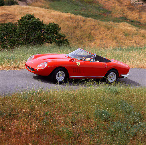 FRR 04 RK0126 01 © Kimball Stock 1967 Ferrari 275 GTS Red Convertible 3/4 Front View On Pavement