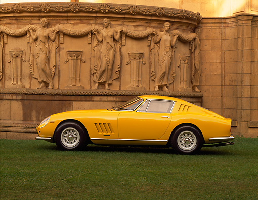FRR 04 RK0127 05 © Kimball Stock 1965 Ferrari 275 GTB Yellow Profile View On Grass By Palace Of Fine Arts San Francisco