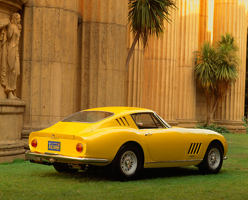 FRR 04 RK0129 02 © Kimball Stock 1965 Ferrari 275 GTB Yellow Rear 3/4 View On Grass By Columns