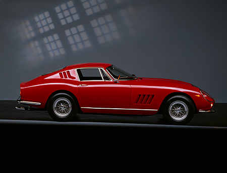 FRR 04 RK0138 03 © Kimball Stock 1966 Ferrari 275 GTB Red Profile On Gray Line Checkered Lighting Studio