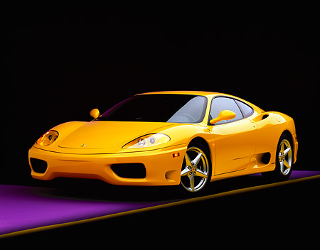 FRR 04 RK0162 05 © Kimball Stock 1999 Ferrari 360 Modena Yellow 3/4 Front View On Purple Floor Yellow Line Studio