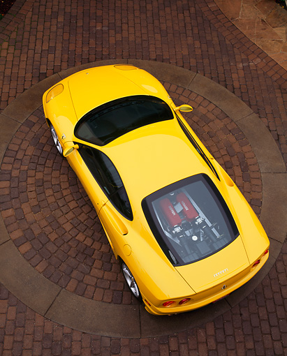 FRR 04 RK0173 16 © Kimball Stock 1999 Ferrari 360 Modena Overhead Rear Shot On Brick Pavement