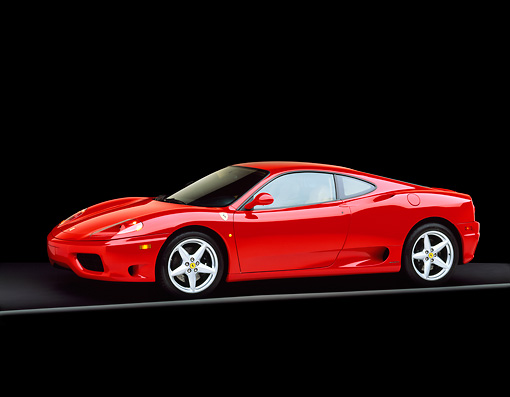 FRR 04 RK0202 06 © Kimball Stock 1999 Ferrari 360 Modena Red Side 3/4 View On Gray Line Studio