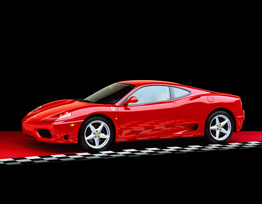 FRR 04 RK0203 06 © Kimball Stock 1999 Ferrari 360 Modena Red Side 3/4 View On Red Floor Checkered Line Studio