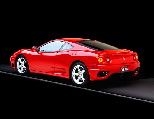 FRR 04 RK0204 07 © Kimball Stock 1999 Ferrari 360 Modena Red Rear 3/4 View On Gray Line Studio