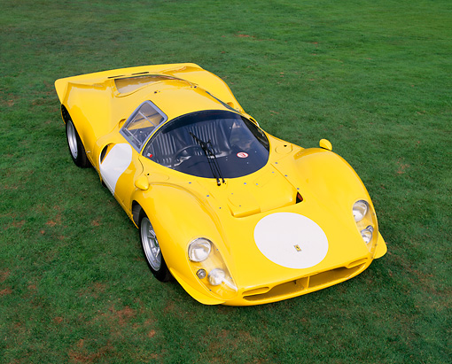 FRR 04 RK0225 04 © Kimball Stock 1963 Ferrari 412 P3 Yellow Overhead 3/4 Front View On Grass Italiano