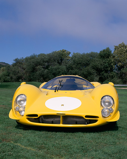 FRR 04 RK0229 02 © Kimball Stock 1963 Ferrari 412 P3 Yellow Head On View On Grass