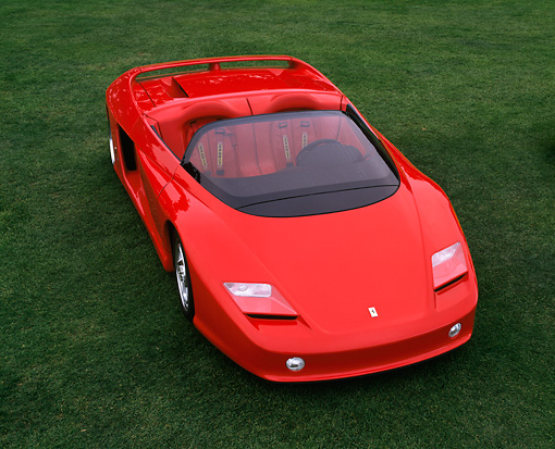 FRR 04 RK0233 04 © Kimball Stock Pininfarina Ferrari Concept Red 3/4 Front View On Grass
