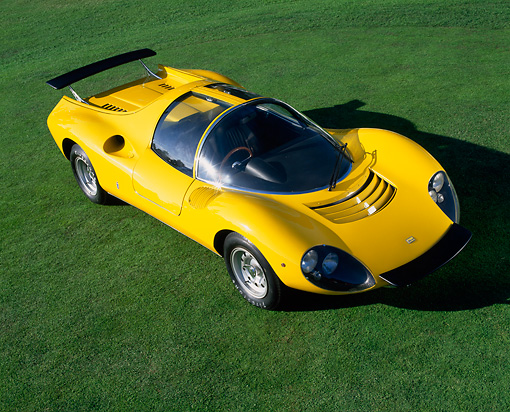 FRR 04 RK0238 03 © Kimball Stock 1967 Ferrari Dino 208 Competizone Pininfarina Concept Yellow Overhead 3/4 Side On Grass
