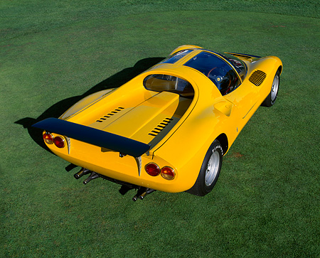 FRR 04 RK0239 05 © Kimball Stock 1967 Ferrari Dino 208 Competizone Pininfarina Concept Yellow 3/4 Rear On Grass