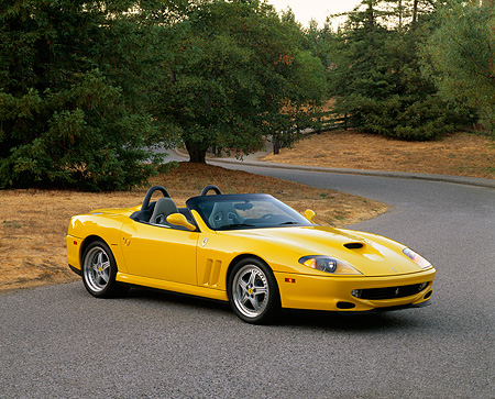 FRR 04 RK0259 04 © Kimball Stock 2001 Ferrari 360 Spider Convertible Yellow 3/4 Front View By Building