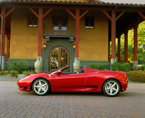 FRR 04 RK0262 02 © Kimball Stock 2001 Ferrari 360 Spider Convertible Red Profile By Building