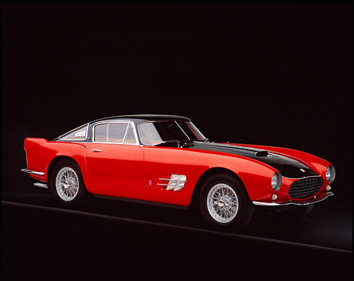FRR 04 RK0269 04 © Kimball Stock 1955 Ferrari 375mm Sport Competitione Speciale Red And Black 3/4 Side View On Gray Line Studio