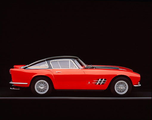 FRR 04 RK0270 05 © Kimball Stock 1955 Ferrari 375mm Sport Competitione Speciale Red And Black Profile On Gray Line Studio