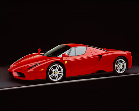 FRR 04 RK0291 04 © Kimball Stock 2003 Ferrari Enzo Red 3/4 Side View On Gray Line Studio