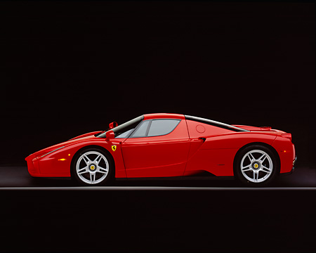 FRR 04 RK0293 11 © Kimball Stock 2003 Ferrari Enzo Red Profile View On Gray Line Studio