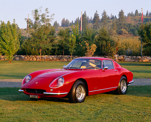 FRR 04 RK0303 03 © Kimball Stock 1966 Ferrari 275 GTB Berlinetta Scaglieitti Red Front 3/4 View On Grass