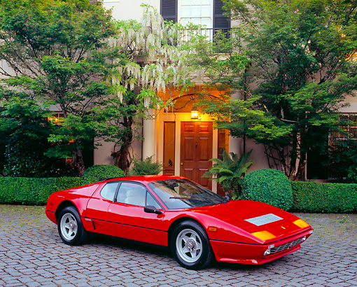 FRR 04 RK0304 04 © Kimball Stock 1984 Ferrari 512M Red 3/4 Side View On Driveway By House