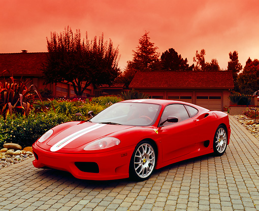 FRR 04 RK0306 01 © Kimball Stock 2004 Ferrari 360 Challenge Stradale Red White Stripe 3/4 Front View On Driveway