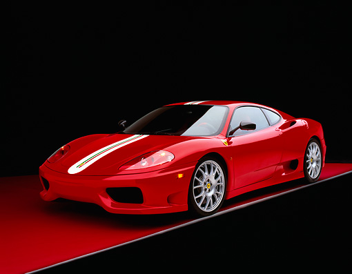 FRR 04 RK0310 12 © Kimball Stock 2004 Ferrari 360 CHS Red With  White Stripe 3/4 Front View Studio