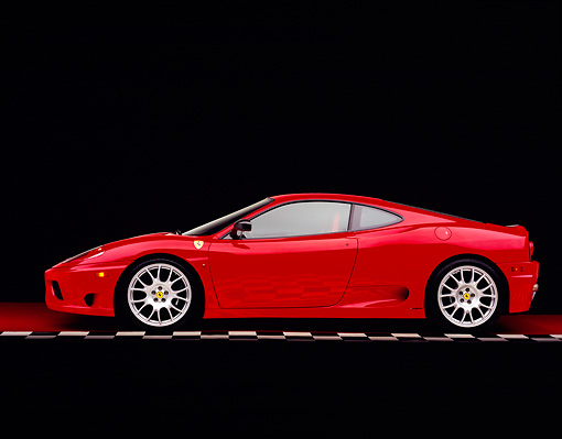 FRR 04 RK0312 01 © Kimball Stock 2004 Ferrari 360 Challenge Stradale Red White Stripe Profile Checkered Line Studio