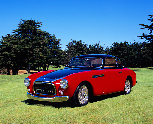 FRR 04 RK0338 02 © Kimball Stock 1951 Ferrari 212 Export Red And Black 3/4 Front View On Grass By Trees