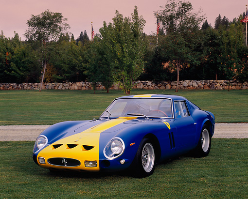 FRR 04 RK0356 02 © Kimball Stock 1962 Ferrari 250GT Comp Berlnetta Blue And Yellow Front 3/4 View On Grass