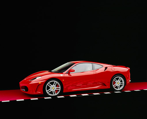 FRR 04 RK0362 09 © Kimball Stock 2005 Ferrari F430 Red 3/4 Side Side View On Red Floor Checkered Line Studio