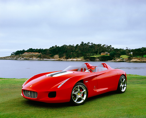 FRR 04 RK0394 04 © Kimball Stock 2000 Ferrari Pininfarina Rossa Red 3/4 Front View On Grass By Water