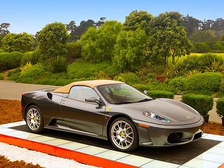 FRR 04 RK0411 01 © Kimball Stock 2006 Ferrari F430 Spyder Gray 3/4 Side View