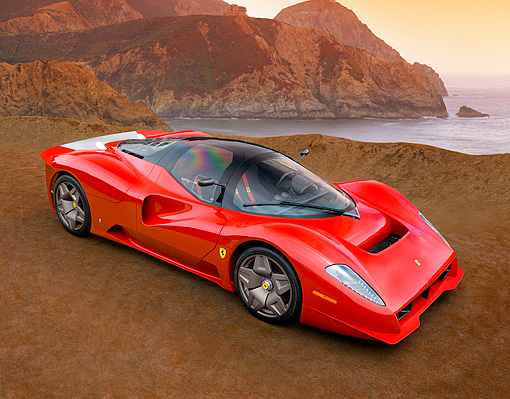 FRR 04 RK0417 01 © Kimball Stock Ferrari P4/5 Red By Pininfarina Overhead 3/4 Side View On Turf