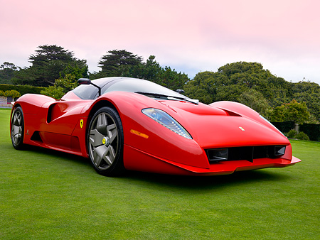 FRR 04 RK0418 01 © Kimball Stock Ferrari P4/5 Red By Pininfarina Low 3/4 Front View On Turf