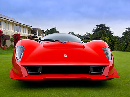 FRR 04 RK0419 01 © Kimball Stock Ferrari P4/5 Red By Pininfarina Low Head On View On Turf