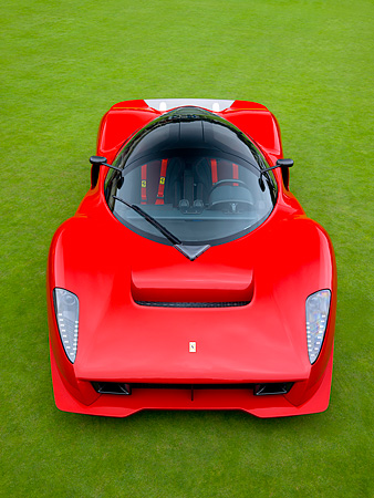 FRR 04 RK0421 01 © Kimball Stock Ferrari P4/5 Red By Pininfarina Overhead Head On View On Turf