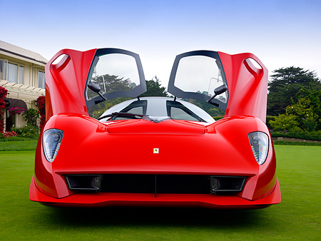 FRR 04 RK0422 01 © Kimball Stock Ferrari P4/5 Red By Pininfarina Low Head On View On Turf Doors Open