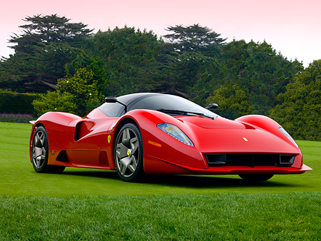FRR 04 RK0431 01 © Kimball Stock Ferrari P4/5 Red By Pininfarina Low 3/4 Front View On Turf