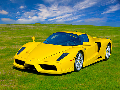 FRR 04 RK0443 01 © Kimball Stock 2003 Ferrari Enzo Yellow Front 3/4 View On Grass