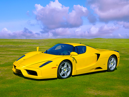 FRR 04 RK0444 01 © Kimball Stock 2003 Ferrari Enzo Yellow 3/4 Front View On Grass