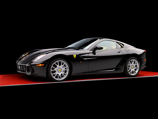 FRR 04 RK0469 02 © Kimball Stock 2007 Ferrari 599 GTB Fiorano Black 3/4 Side View Studio