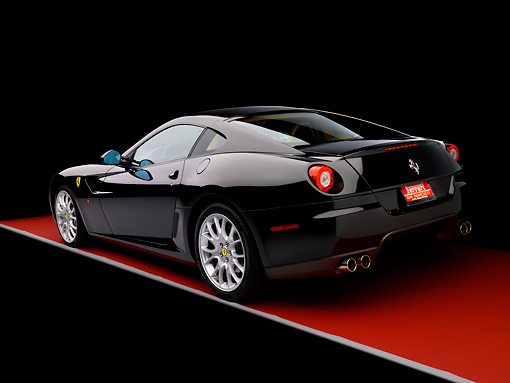 FRR 04 RK0471 01 © Kimball Stock 2007 Ferrari 599 GTB Fiorano Black 3/4 Rear View Studio