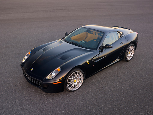 FRR 04 RK0475 01 © Kimball Stock 2007 Ferrari 599 GTB Fiorano Black Overhead 3/4  Side View On Pavement
