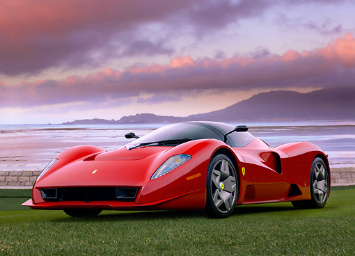 FRR 04 RK0481 01 © Kimball Stock Ferrari P4/5 Red By Pininfarina Low 3/4 Front View On Grass By Water